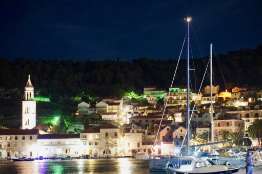 Bright lights, sultry town. Hvar Town, Croatia