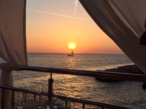Sunset from our table at La Puntalina.